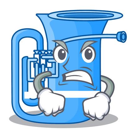 Angry tuba in the shape funny cartoon vector illustrtion