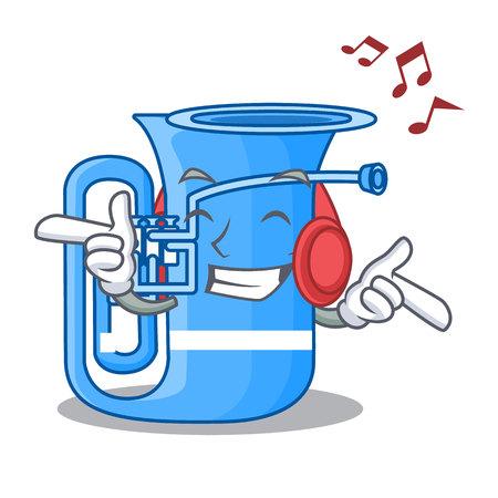 Listening music tuba in the shape funny cartoon vector illustrtion