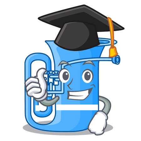 Graduation tuba isolated with in the character vector illustrtion Illustration