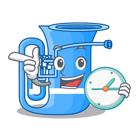 With clock tuba isolated with in the character vector illustrtion