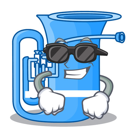 Super cool tuba isolated with in the character vector illustrtion