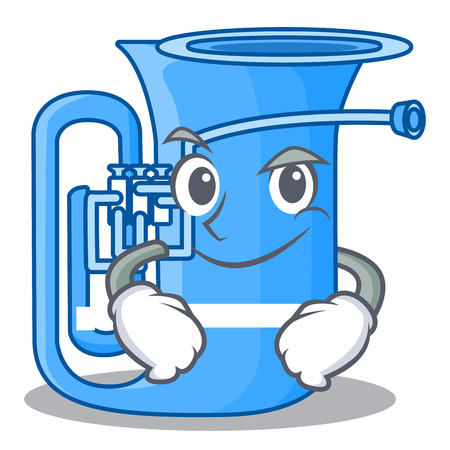 Smirking tuba isolated with in the character vector illustrtion