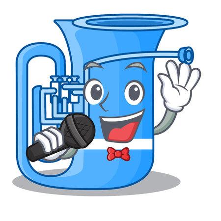 Singing tuba in the shape funny cartoon vector illustrtion