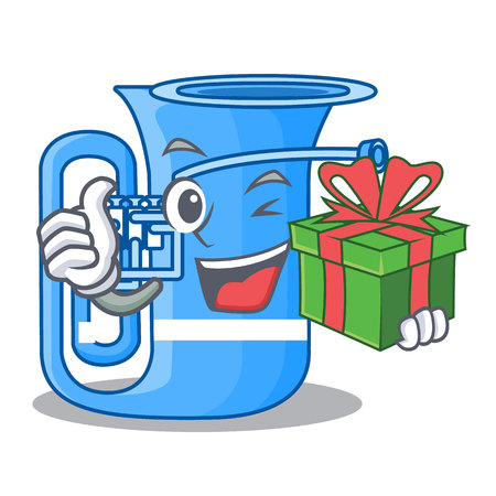 With gift tuba in the shape funny cartoon vector illustrtion Illustration