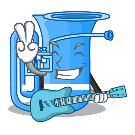 With guitar tuba in the shape funny cartoon vector illustrtion Illustration