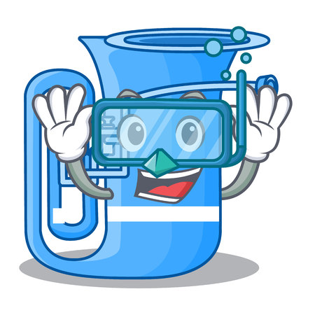 Diving tuba isolated with in the character vector illustrtion
