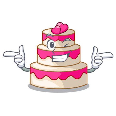 Wink wedding cake above wooden cartoon table vector illustrtion