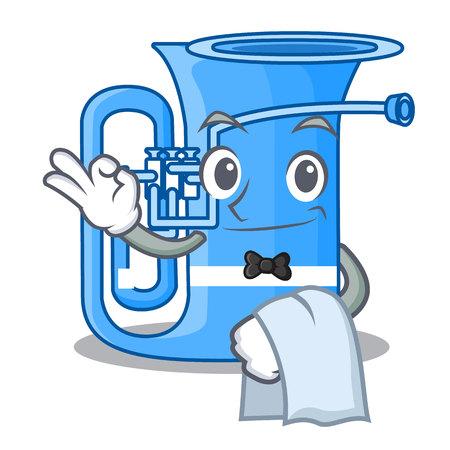 Waiter tuba in the shape funny cartoon vector illustrtion  イラスト・ベクター素材