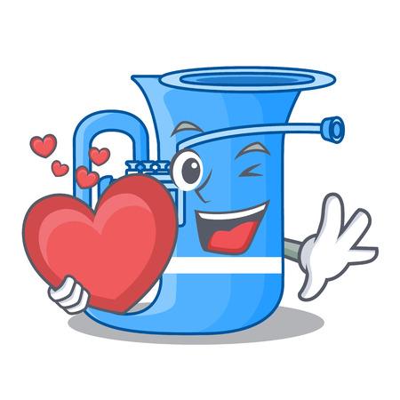 With heart tuba in the shape funny cartoon vector illustrtion  イラスト・ベクター素材