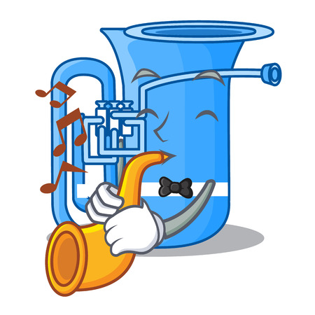 With trumpet tuba in the shape funny cartoon vector illustrtion