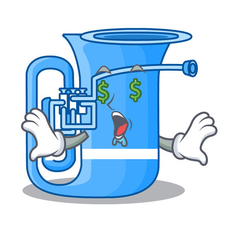 Money eye miniature tuba in the shape cartoon vector illustration 向量圖像