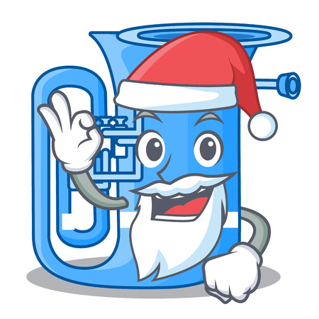 Santa miniature tuba in the shape cartoon vector illustration