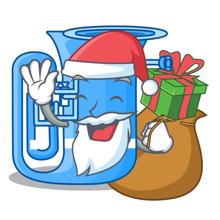 Santa with gift miniature tuba in the shape cartoon vector illustration
