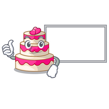 Thumbs up with board wedding cake in the character shape Illustration