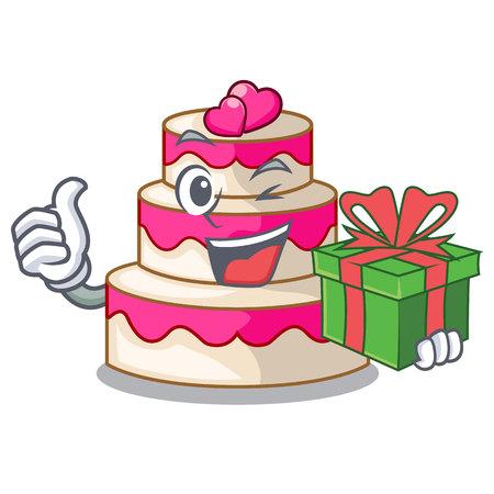 With gift wedding cake in a cartoon fridge vector illustration