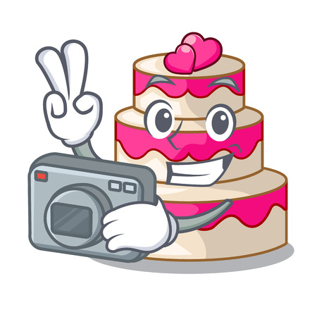 Photographer wedding cake in a cartoon fridge vector illustration Çizim