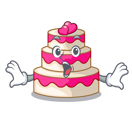 Surprised wedding cake in a cartoon fridge vector illustration Çizim