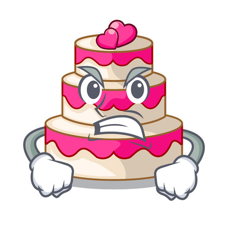 Angry wedding cake in a cartoon fridge vector illustration Çizim