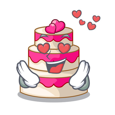 In love wedding cake in a cartoon fridge vector illustration