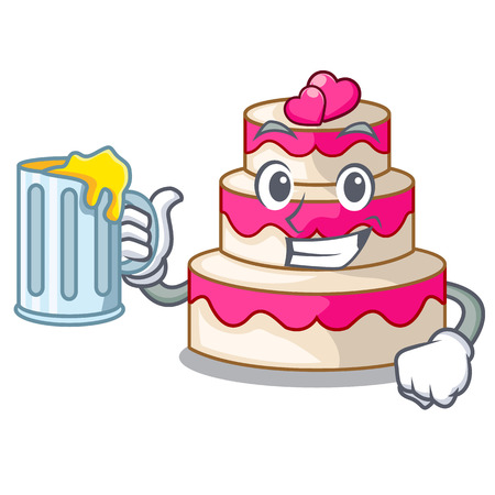 With juice wedding cake in a cartoon fridge vector illustration Çizim