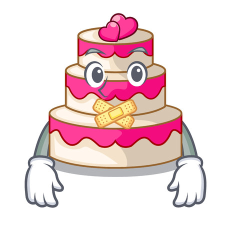 Silent wedding cake isolated with the mascot