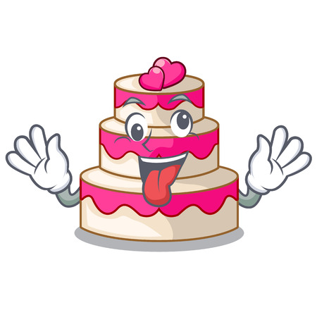 Crazy wedding cake isolated with the mascot