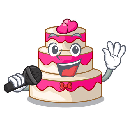 Singing wedding cake in a cartoon fridge vector illustration
