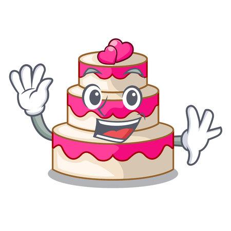 Waving wedding cake above wooden cartoon table vector illustrtion