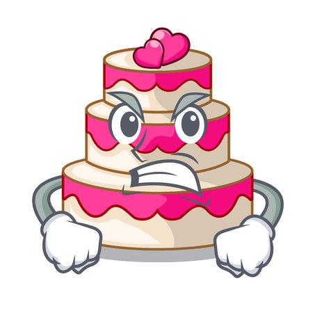 Angry wedding cake in a cartoon fridge vector illustration Illustration