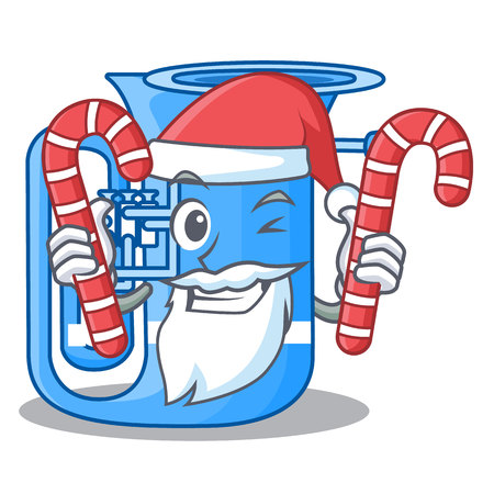 Santa with candy miniature tuba in the shape cartoon vector illustration