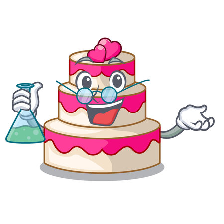 Professor wedding cake above wooden cartoon table vector illustrtion