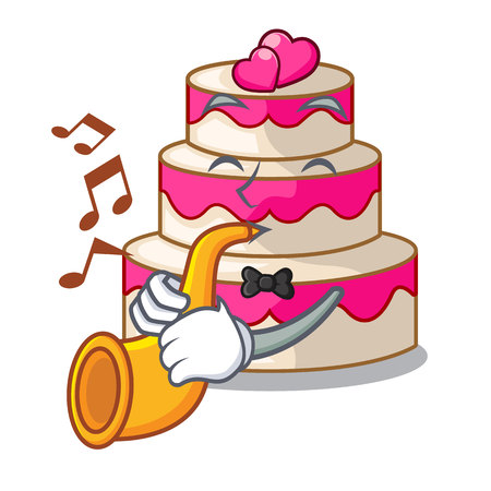 With trumpet wedding cake in a cartoon fridge vector illustration