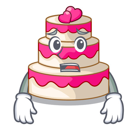 Afraid wedding cake in a cartoon fridge vector illustration