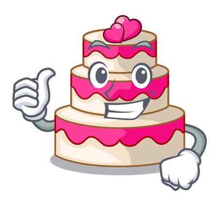 Thumbs up wedding cake above wooden cartoon table vector illustrtion