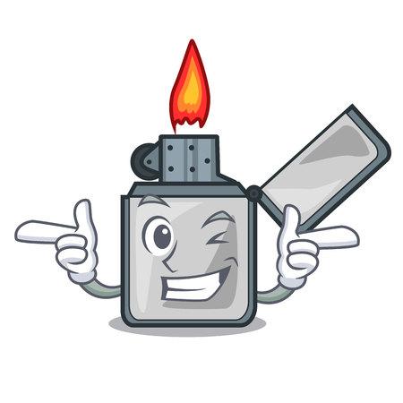 Wink cigarette lighters above wooden character tables vector illustrtion