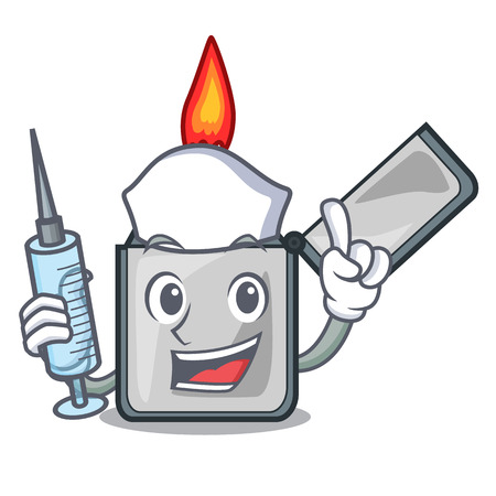 Nurse cigarette lighters above wooden character tables vector illustrtion