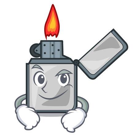 Smirking cigarette lighters above wooden character tables vector illustrtion