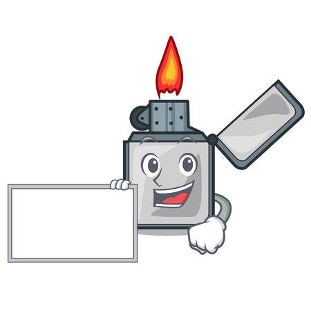 With board cigarette lighters in the shape mascot vector illustrtion