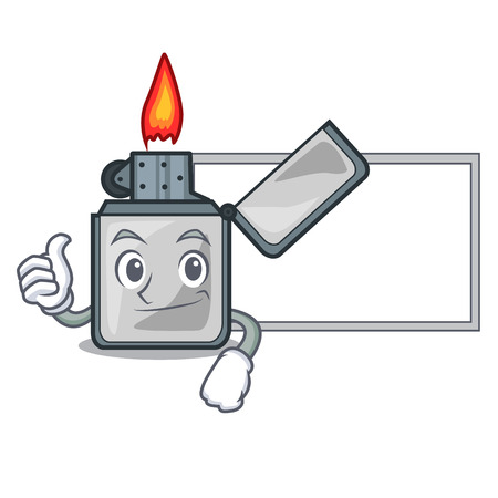 Thumbs up with board cigarette lighters in the shape mascot vector illustrtion