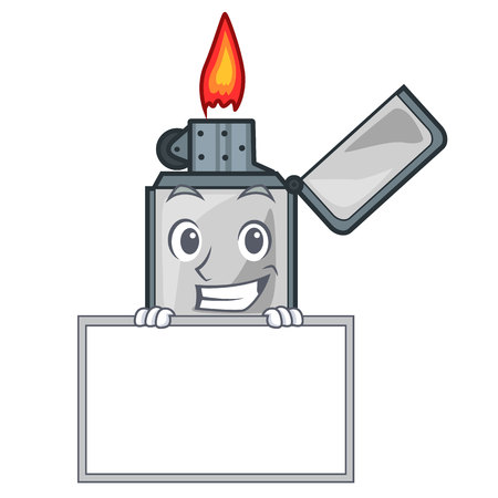 Grinning with board cigarette lighters in the shape mascot vector illustrtion