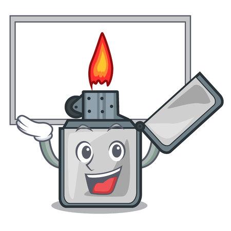Up board cigarette lighters in the shape mascot vector illustrtion Ilustração
