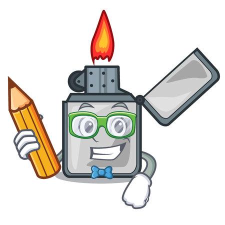Student cigarette lighters above wooden character tables vector illustrtion