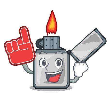Foam finger cigarette lighters are placed cartoon bags vector illustration Ilustração