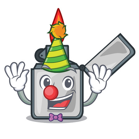 Clown cigarette lighters are placed cartoon bags vector illustration