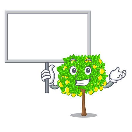 Bring board lemon tree in the cartoon shape vector illustrtion