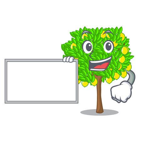 With board lemon tree in the cartoon shape vector illustrtion Ilustração