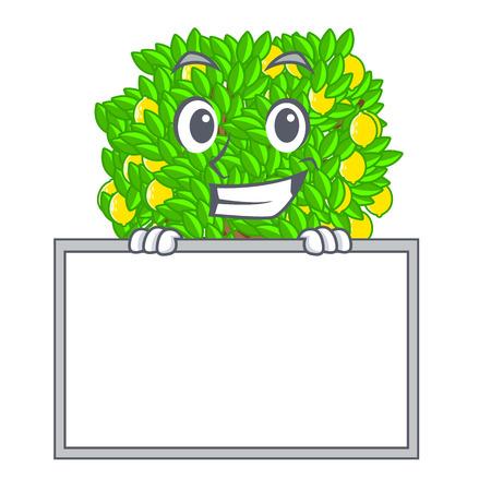Grinning with board lemon tree in the cartoon shape vector illustrtion Ilustração