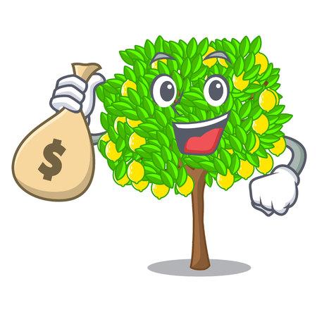 With money bag lemon tree in the cartoon shape vector illustrtion