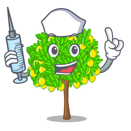 Nurse lemon tree isolated with the mascot