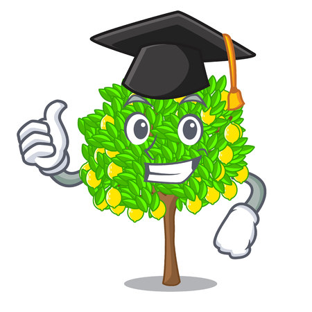 Graduation lemon tree isolated with the mascot vector illustration